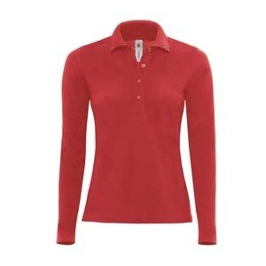 Polo femme manches longues - BC426 - Rouge